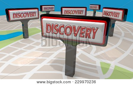 Discovery Sign Find New Discoveries Map 3d Illustration