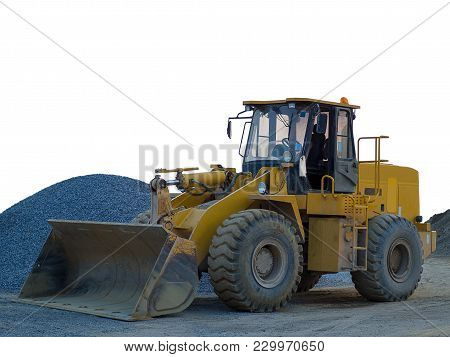 Wheel Loader Machine Unloading Sand At Works In Construction Site. (with Free Space For Text)