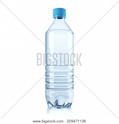 Plastic Bottle With Water Isolated On White Background. 3d