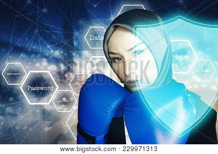 Cyber Security Concept, Aggressive Face Expression Young Women With Boxing Glove Over Abstract Backg
