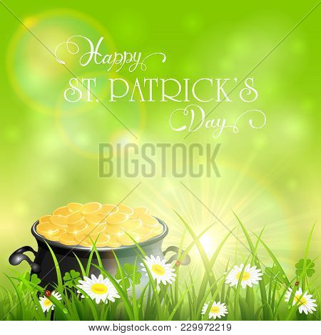Patrick Day Background And Gold Of Leprechauns In Grass