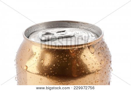 Can of beer on white background, closeup
