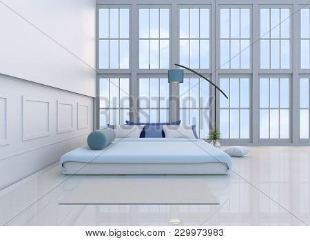 White-blue Bedroom Decorated With Light Blue Bed,tree In Glass Vase, Pillows,  Window, Carpet, Blue