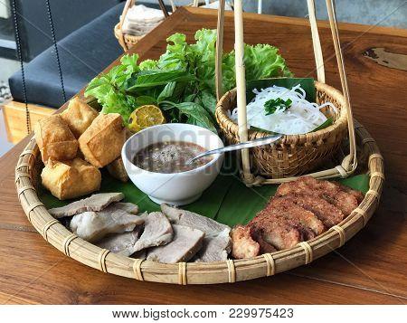 Vietnamese Food Set, Bun Dau Mam Tom, Popular Street Food Made From Vermicelli With Boiled Pork, Fri