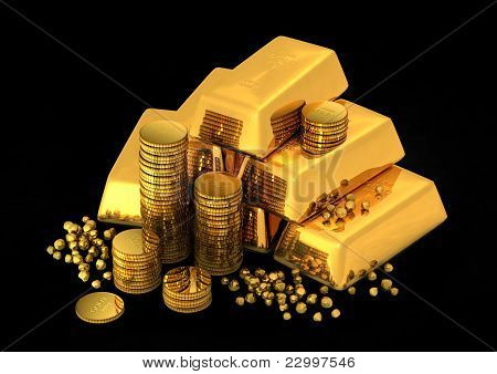 3d gold bars and coins on black poster