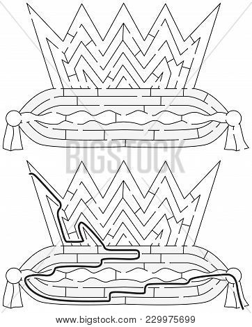 Easy Crown Maze For Younger Kids With A Solution In Black And White