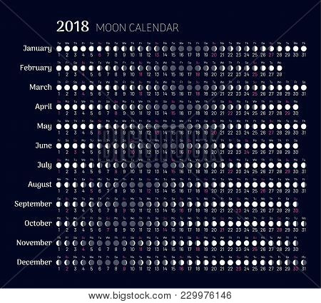 Lunar Calendar 2018 Year In Flat Style. Planner With All Months. Moon Phases On Scheduler. Convenien