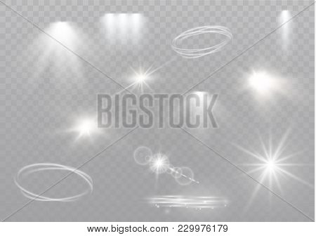 Star On A Transparent Background, Light Effect, Vector Illustration. Burst With Sparkles.sun.special