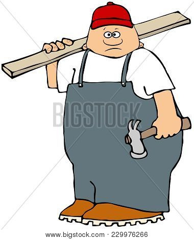 Illustration Of A Chubby Carpenter Wearing Overalls Holding A Claw Hammer And A Wooden Board Over Hi