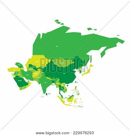 Very Simplified Vector Infographical Political Map Of Asia.