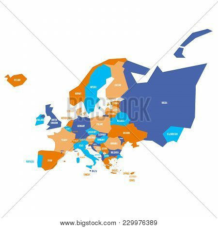 Very Simplified Infographical Political Map Of Europe. Simple Geometric Vector Illustration.