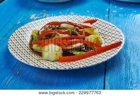 Balsamic Baked Cod With Peppers  , Close Up