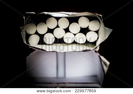 Cigarette Box With Black Background
