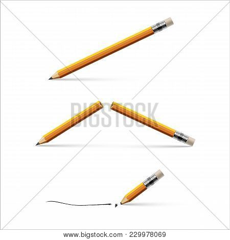 Pencil, Broken Pencil And Pencil With A Broken Tip Isolated On White Background. Vector Realistic Il