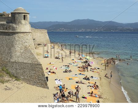 Ajaccio, Corsica, France- August 17, 2017: Bathers On The Beach Beach Of St. François In The Month O