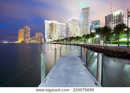 Skyline Of City Downtown And Brickell Key, Miami, Florida, Usa