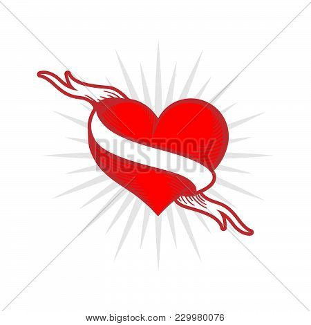 Flaming Heart Tattoo With Ribbon. True Love. Ribbon Wraps Around Red Heart. Old School Style. Engrav