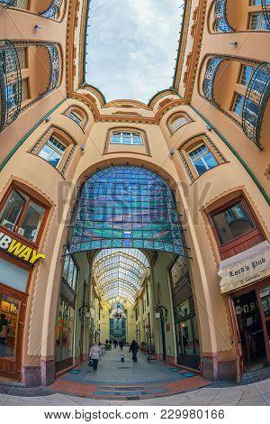 Oradea, Romania - January 27, 2018: Principal Entrance In The Black Eagle Palace With Glass Covered