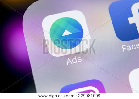 Sankt-petersburg, Russia, March 7, 2018: Facebook Ads Application Icon On Apple Iphone X Screen Clos