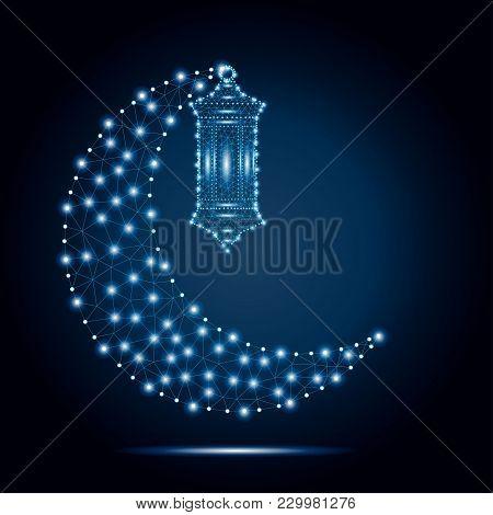 Ramadan Kareem. Vector Islam Religious Illustration Of Polygonal Arabic Lantern Fanoos And Polygon C