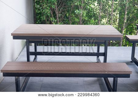 Garden Wooden Table With Benches Decoration In Home