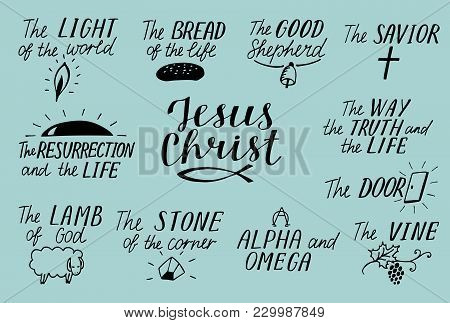 Set Of 11 Hand Lettering Christian Quotes About Jesus Christ. Savior. Door. Good Shepherd. Way, Trut
