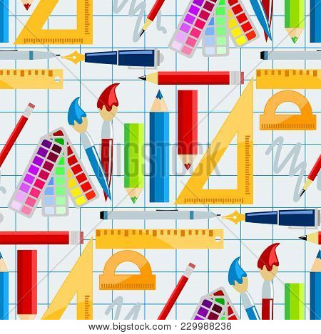 Creativity School Supplies Seamless Pattern Background Imagination Vector Illustration Abstract Colo