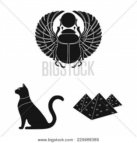 Ancient Egypt Black Icons In Set Collection For Design. The Reign Of Pharaoh Vector Symbol Stock  Il