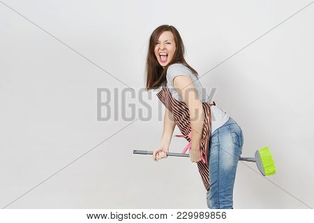 Young Fun Crazy Dizzy Loony Wild Screaming Housewife With Tousled Hair In Striped Apron, Squeegee In