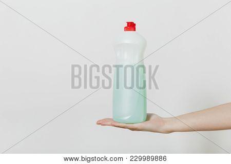 Dishwashing Detergent Dispenser. Bottle With Dishwashing Cleaner Liquid In Hand Isolated On White Ba