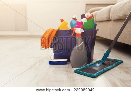 Bucket With Chemicals Bottles, Mopping Stick, Rubber Gloves. Household Equipment, Spring-cleaning, T