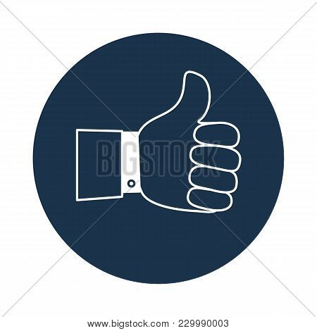 Thumb Up Symbol, Finger Up Icon Vector Illustration. Like. Stock Flat Vector Illustration.