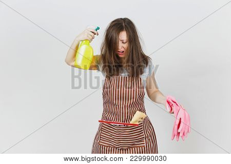 Young Fun Crazy Loony Wild Screaming Housewife Tousled Hair In Apron Squeegee Rag In Pocket Isolated