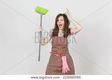 Young Fun Crazy Dizzy Loony Wild Screaming Housewife Tousled Hair In Striped Apron Squeegee Pink Glo