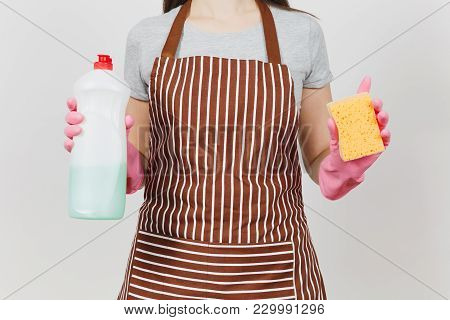Close Up Cropped Portrait Housewife In Pink Gloves, Striped Brown Apron Isolated On White Background