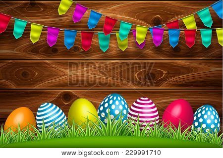 Vector Realistic Decorated Easter Eggs On Green Grass Meadow Field Festival Bunting Flag Wooden Timb
