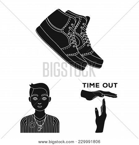 Basketball And Attributes Black Icons In Set Collection For Design.basketball Player And Equipment V