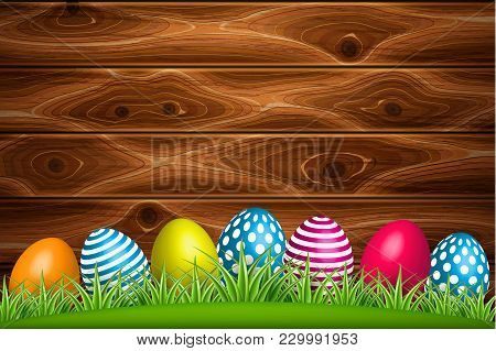 Vector Realistic Decorated Easter Eggs On Green Grass Meadow Field Wooden Timber Rustic Texture Back