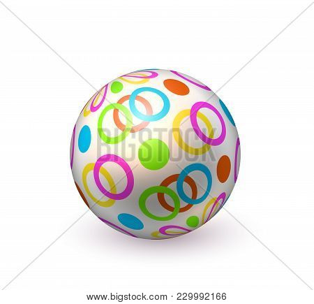 Realistic Inflatable Ball. Colorful Dots Circles Beach Ball, Pool Bounce, Holiday Summer Play, Vacat
