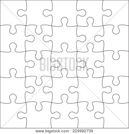 Jigsaw Puzzle Blank Template Or Cutting Guidelines Of 25 Pieces. Plain White Jigsaw Puzzle, On White