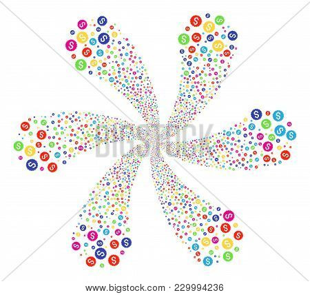 Multicolored Financial Seal Twirl Abstract Flower. Suggestive Curl Created From Randomized Financial