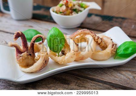Deep Fried Calamari Rings On White Tray And Salad