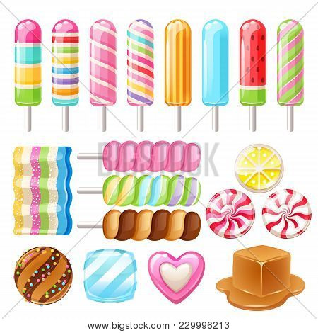 Set Of Sweets - Hard Candy, Dragee, Lollipop, Toffee, Jelly, Peppermint Candy, Chocolate, Popsicle C