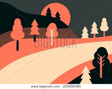 Panoramic Landscape With Highway. Country Road Landscape Retro. Flat Style. Vector Illustration