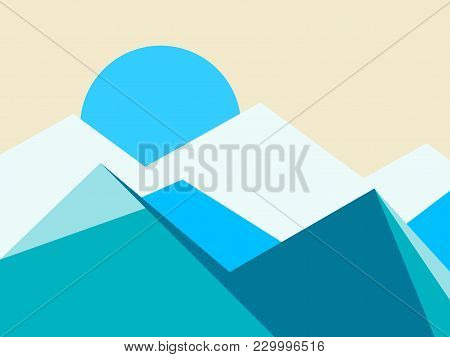 Mountain Peaks Landscape Flat Style. Vector Illustration