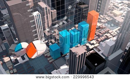 Business Infographics Chart In Modern Building City, 3d Rendering