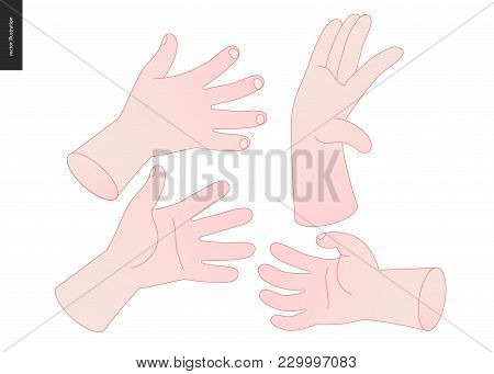 The Vector Illustrated Set Of Outlined Hand Drawn Hands With Various Gestures