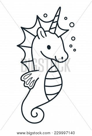Cute Unicorn With Purple Mane Simple Cartoon Vector Illustration. Simple Flat Line Doodle Coloring P