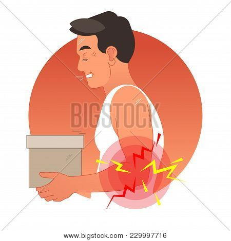 Elbow Pain Concept Vector Illustration With Human Torso Carrying Box. Pain Circles On Arm. Work Safe