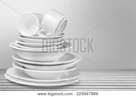Isolated Clean Plates Cups Table Group Large